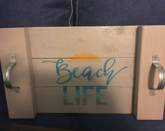 Beach Life wood tray with handles