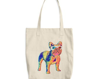 French Bulldog Gift 3D Glasses Wearing Frenchie Dog Tote