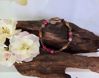 Natural Grass Flower Jasper & Fuchsia Madagascan Faceted Agate healing gemstone stretch bracelet with Swarovski Crystal