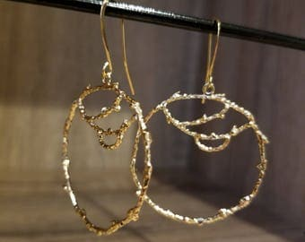 Gold Plated, Round Branch Pendant, Drop Earring