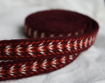 Handmade Red-White Tablet Woven Viking Trim/Band (100% Pure Wool) 1-4 m Length, Without Tassels