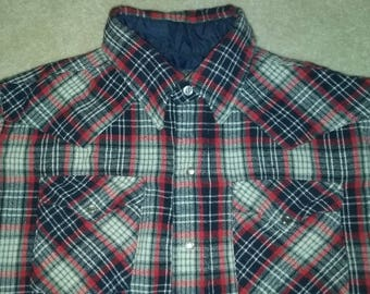 Vintage Men's Plaid Panhandle Slim Western Shirt Button Front Long Sleeve Size 16 1/2