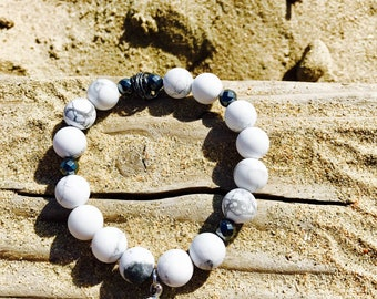 Beaded marble bracelet, stretch bracelet, gemstone, boho bracelet, gift, stack bracelet, bracelet for women, positive energy bracelet