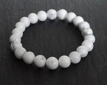 All Natural White Howlite Stretch Cord Bracelet