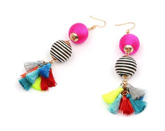 ColorfulTassels Earrings, Hot Pink, and Black&White stripe Cotton Threaded Beads