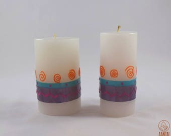 Spirals and lines set of candles