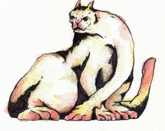 Original Cat Ink Watercolor Colorful Illustration