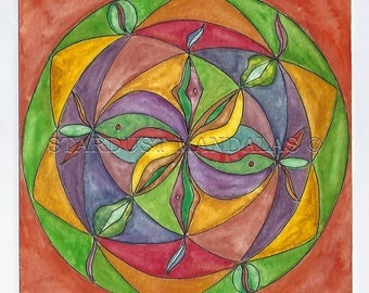 """Original and Unique Handmade Mandala,watercolor painting. """"The Riddle"""" 18x18cm  No:25"""