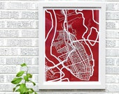 Charleston, SC map 18x24 laser-cut print, white on red