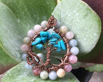 Morganite Bead-framed Turquoise chip Tree of Life Pendant