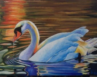 Swan artwork. Original. Impressionism. Wildlife.