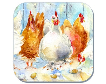 Brown or White, Hens - Chickens Coaster, Hens Coaster (Corked Back). From an original Sheila Gill Watercolour Painting