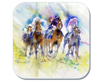 Autumn Stakes Salisbury - Horse Coaster, Equine Coaster (Corked Back). From an original Sheila Gill Watercolour Painting