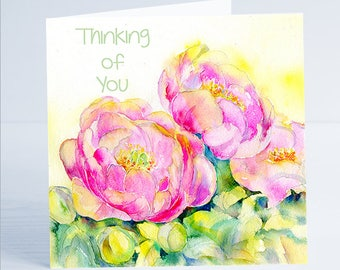 Peonies - Thinking of You Flower Greeting Card by Sheila Gill
