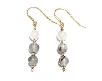 Tourmalinated Quartz and 9ct Gold Earrings