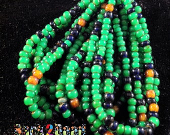 6/0 Green White Heart with Cobolt and White Picasso Accent Seed Beads