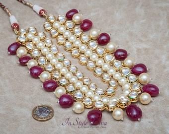 Regal Rajwadi Layered necklace Adorned with Pearls, Semi Precious Gems and kundan Indian Bridal Jewelry