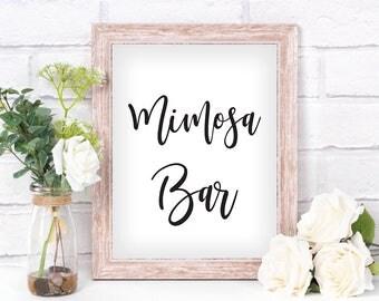 Mimosa Bar Sign Printable DIY Wedding Reception Digital Instant Download PDF Black Bridal Shower Print Template Decor Calligraphy