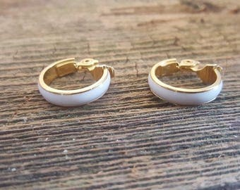 Vintage Monet Enamel and Gold Tone Clip On Earrings