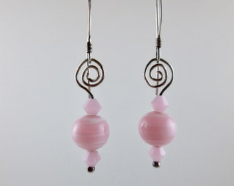 """Vintage Bead """"Cotton Candy"""" Earrings with Swarovski on Sterling Silver"""