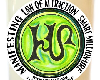 Law of Attraction Manifesting Smart Millionaire Wealth Scented Soy 8 oz Glass Candle