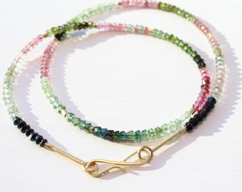 Jewellery tourmaline Necklace multicolor with gold