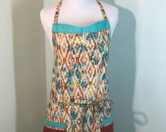 Colorful Aztec pattern cooking apron, Ladies Apron, Kitchen Apron