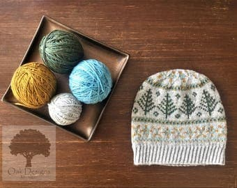 Up North Fair Isle Hat with Pine Trees Design - Pattern