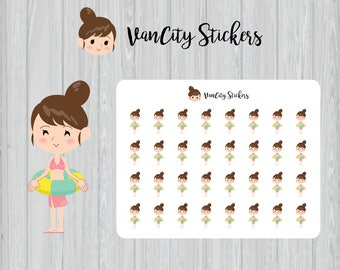 Summer Vacation Stickers, Pool Party Stickers, Pool Swim Stickers, Girl Kawaii Emoji Stickers, Vanessa Stickers