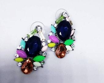Multi sparkling gemstones earrings