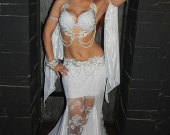 "Costume for bellydance ""White Rose"", belly dance costume, bright dance costume, costume for raks sharki"