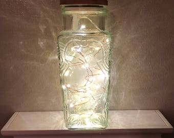 Vintage Glass Canister with LED lights