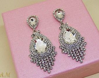 Crystal Bridal Earrings, Wedding earrings, Long Bridal earrings, Long Crystal Stud Earrings, Silver Crystal Drop Earrings, Bridal Jewelry