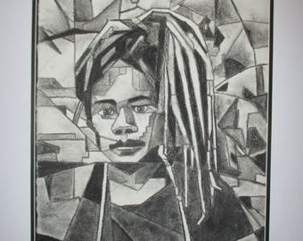 Girl with dreadlocks in charcoal (cubist)