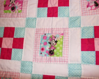 Baby quilt, handmade baby quilt, mini mouse baby quilt, pink and aqua babies quilted blanket, baby girl quilt, shower gift for baby girl