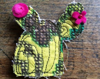 Vintage Fabric Cacti Brooch