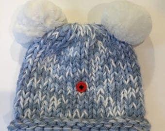 Handknit baby beanie, blue baby boy hat, baby boy cap, newborn hat,
