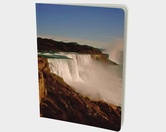 "Journal (Large) Classic landscape painting ""Majestic Niagara Falls"" Art Notebook, Sketchbook. Plain, ruled, grid, or bullet pages. 7.25""x10"""