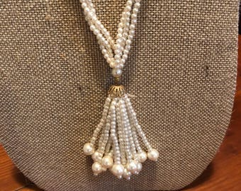 Vintage Pearl Tassel Necklace - Long