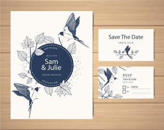 Printable Elegant Blue Wedding Set : Save The Date + RVSP