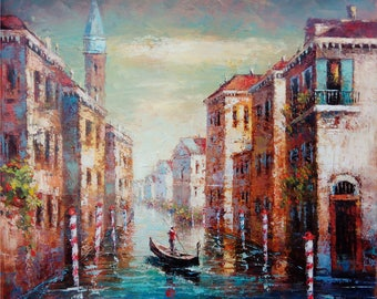 Venice (60x50sm size, oil painting, ready to hang, modern art, cityscape, impressionism)
