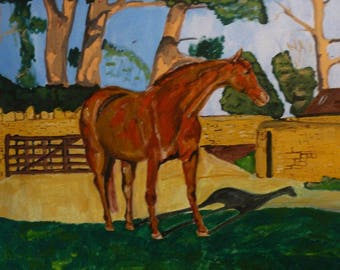 Oil on Canvas Chestnut Mare