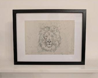 Lion mono print