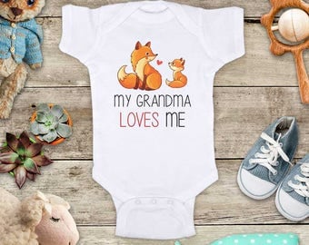 My Grandma loves me cute Foxes - Aunt Uncle Grandpa Godfather Short sleeve Baby bodysuit Toddler Youth Shirt - baby shower gift surprise