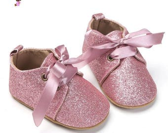 PINK  Baby Glitter Shoes, Baby girl shoes, pink baby shoes, glitter baby girl shoes