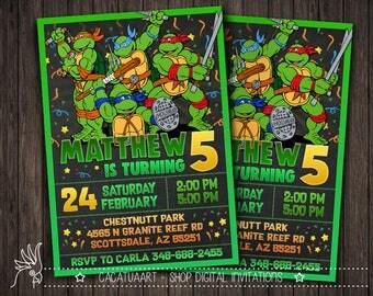 Teenage Mutant Ninja Turtles Invitation, TMNT Invitation, TMNT Birthday Party, Cartoon, Personalized, Printable, Chalkboard, Digital File