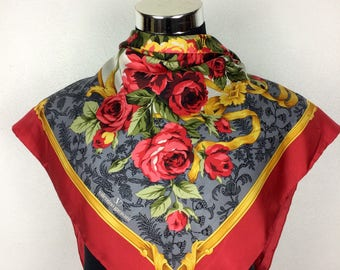 "Valentino Garavani Scarf Vintage Scarf Silk Valentino Gift A50 Size 35""x 35"""