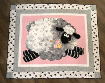 Sheep Quilt, Baby Quilt, Baby girl, Pink, Shower Gift, Minky, Animal Quilt
