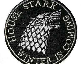 HOUSE STARK WINTER is Coming Game of Thrones Embroidered Rode Iron On Patch
