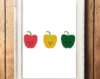 Happy Bell Peppers Cross Stitch Pattern (Digital Download)